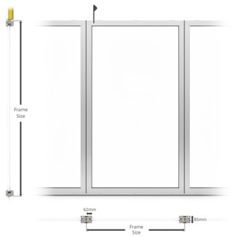 A60/AF85 External Fixed Frame Partition - illustration