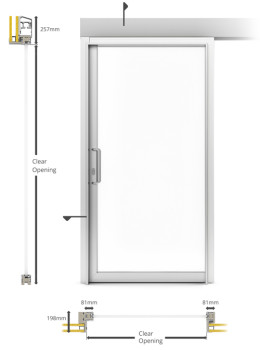 A60/AF85 Internal Single Sliding Door - illustration