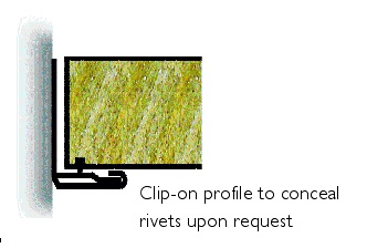 Clip-on profile to conceal rivets upon request