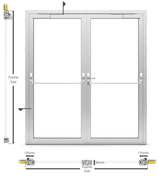 A60/AF85 External Double Hinged Door - illustration