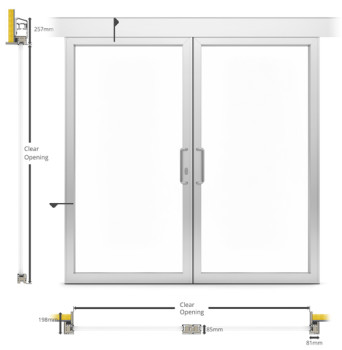 A60/AF85 External Double Sliding Patio Type Door - illustration
