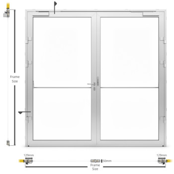 AF50 Glazed Internal Double Hinged Door - illustration